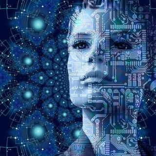 un visage féminin dans un univers technologique de réseau