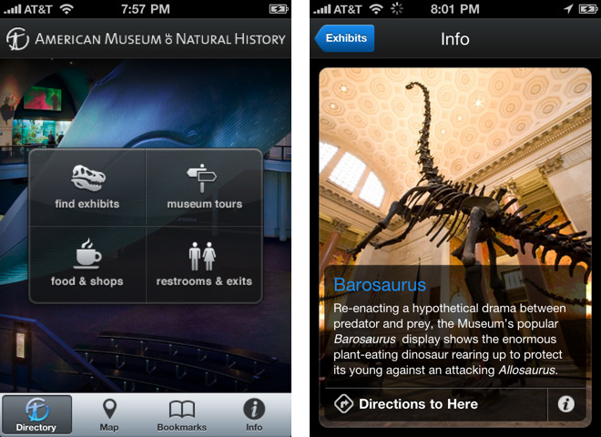 Application mobile du American Museum of Natural History